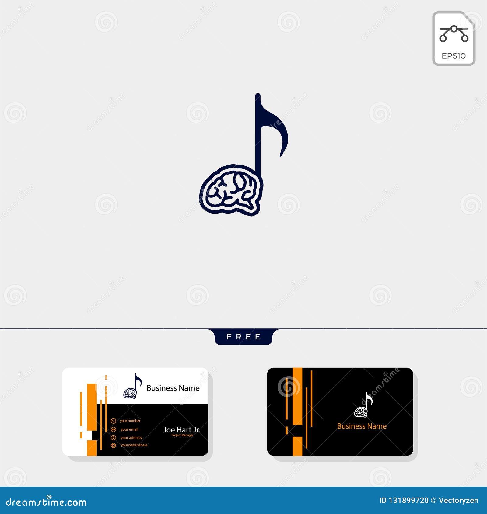 brain music creative logo template get free business card design template