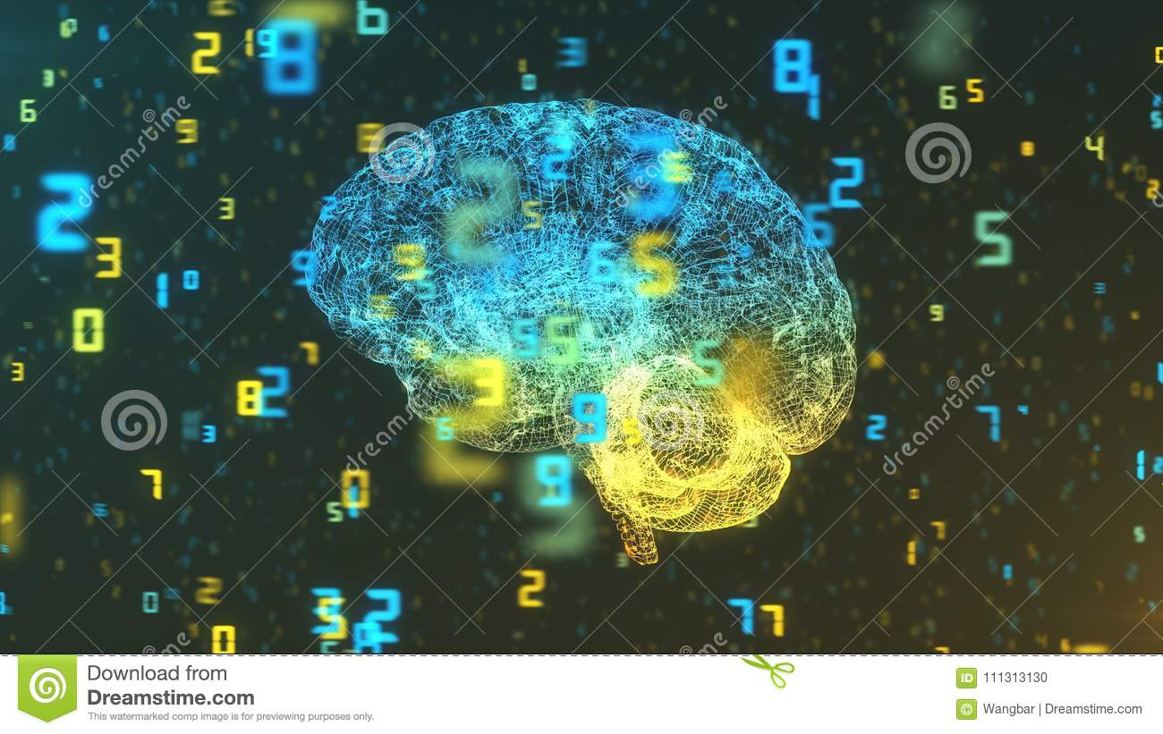 Brain and numbers - Big Data and statistics - left view