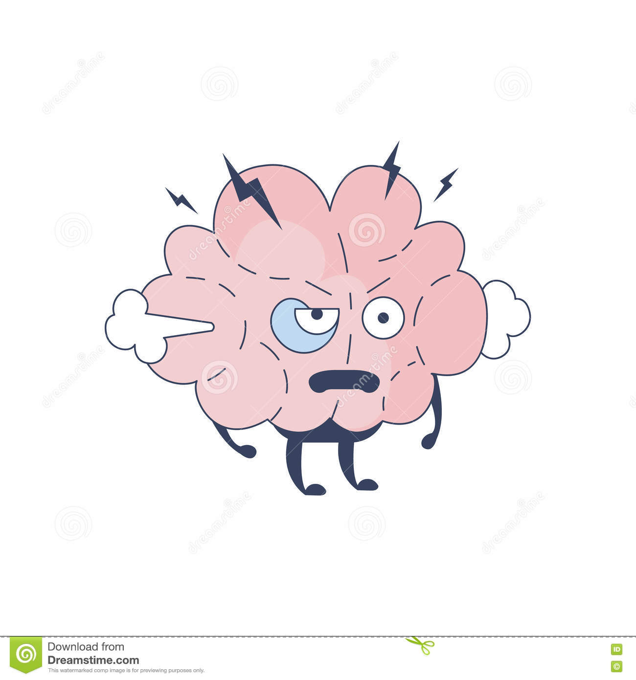 Brain Off Comic Character Representing Intellect And Intellectual Activities Of Human Mind Cartoon Flat Vector