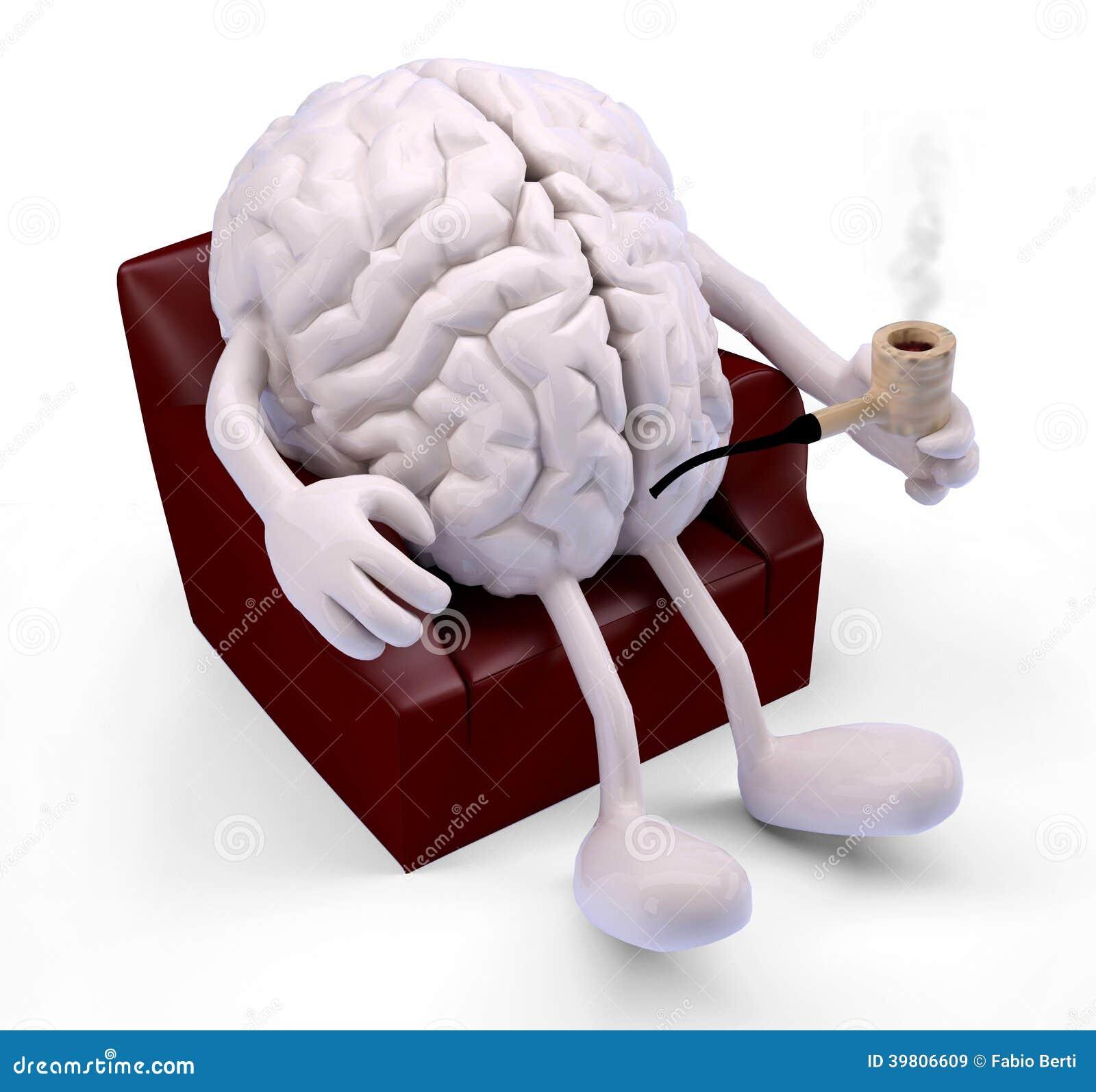 Brain Relaxing On Armchair Stock Illustration Image