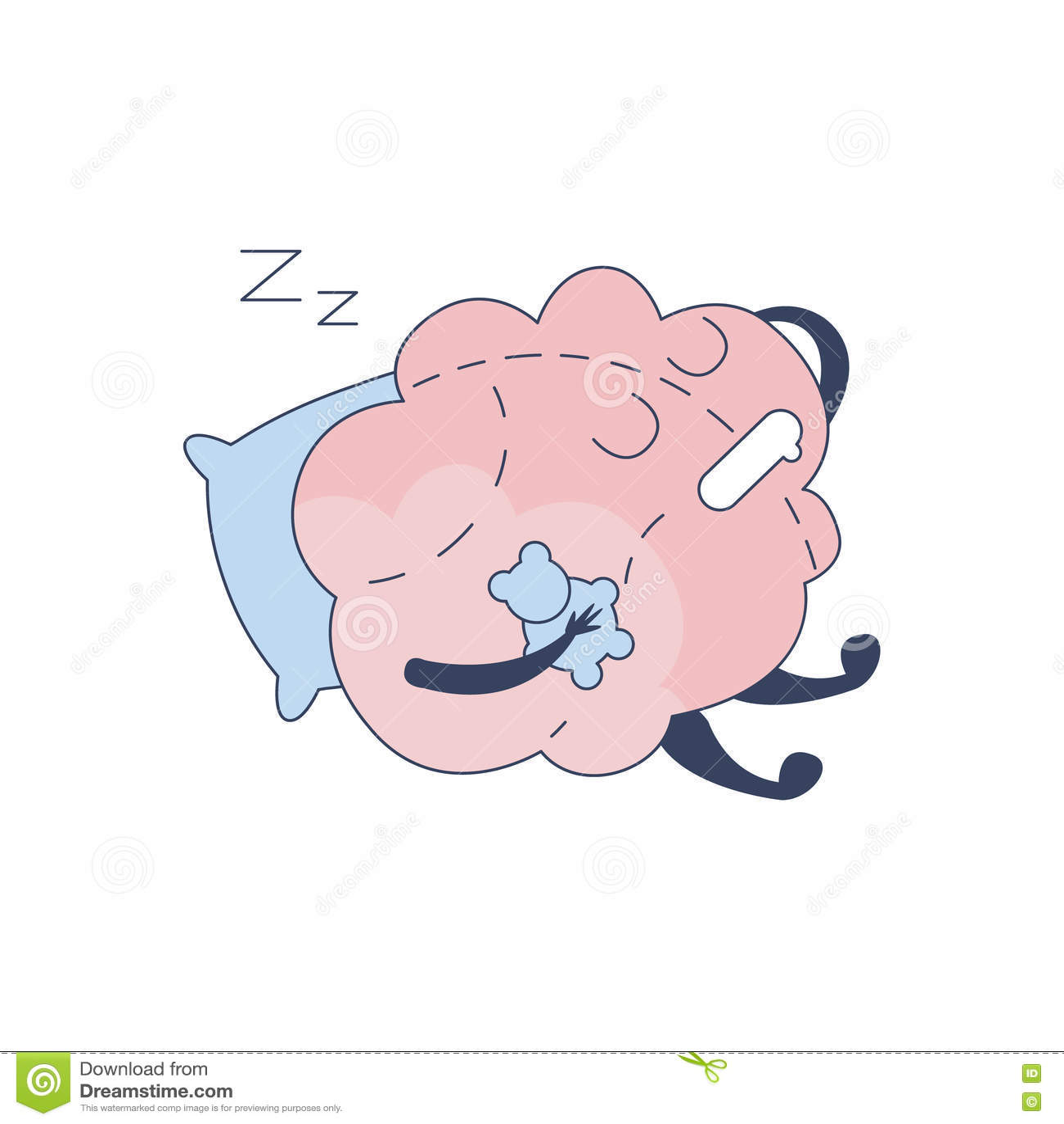 Brain Sleeping With Teddy Bear komiskt tecken som föreställer intellekt- och intellektuellaktiviteter av tecknade filmen för mäns