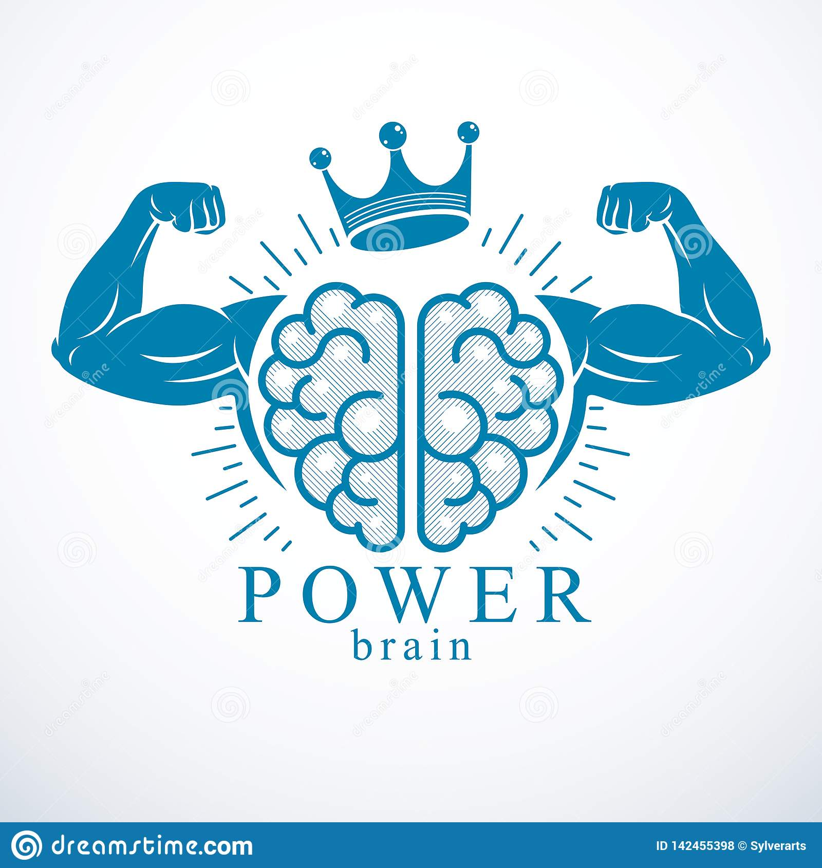 Brain With Strong Bicep Hands Of Bodybuilder  Power Brain