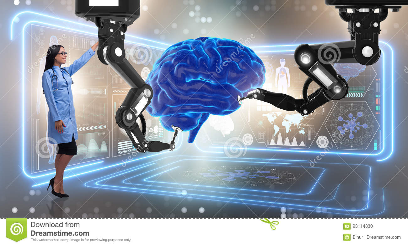 The brain surgery done by robotic arm
