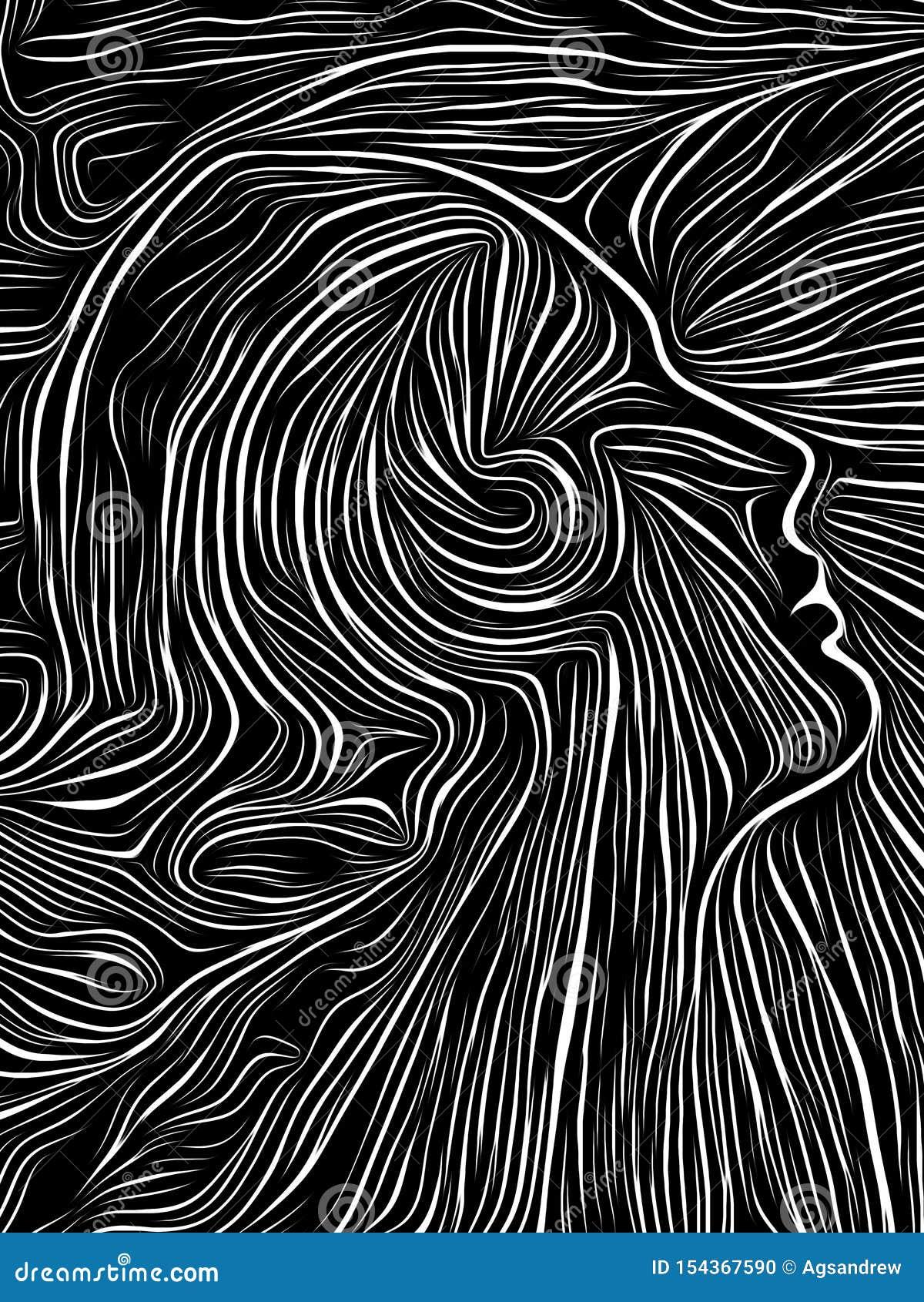 Brain Swirl Woodcut