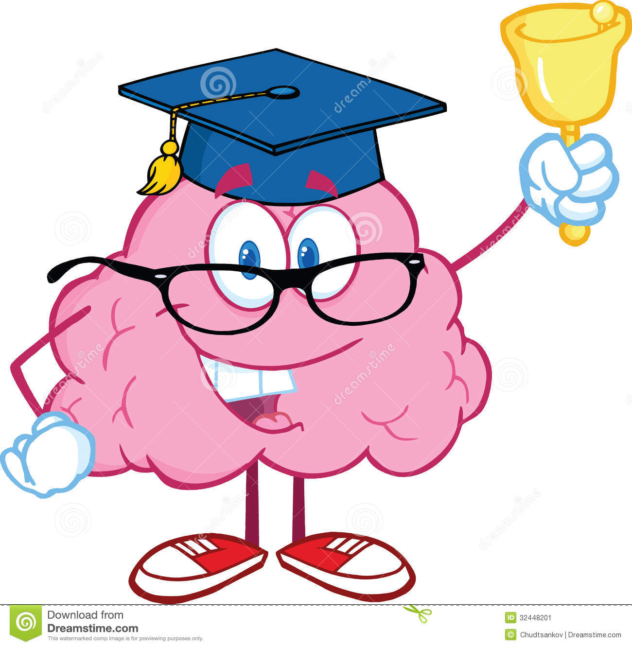 Brain Teacher Character Ringing A Bell Stock Image - Image ...