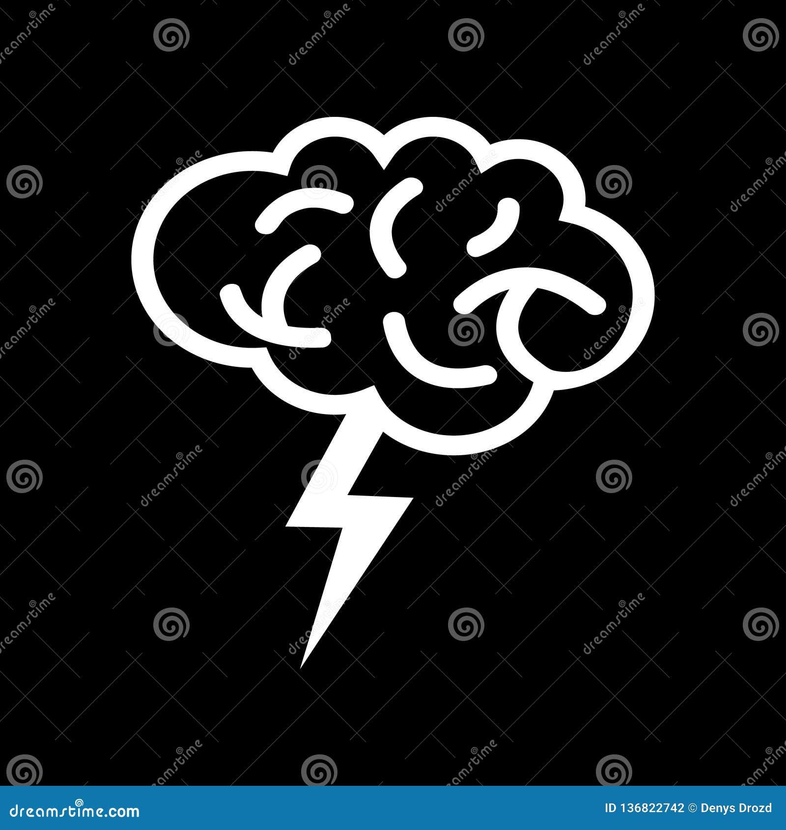 Brain With Thunder Logo-pictogramvector