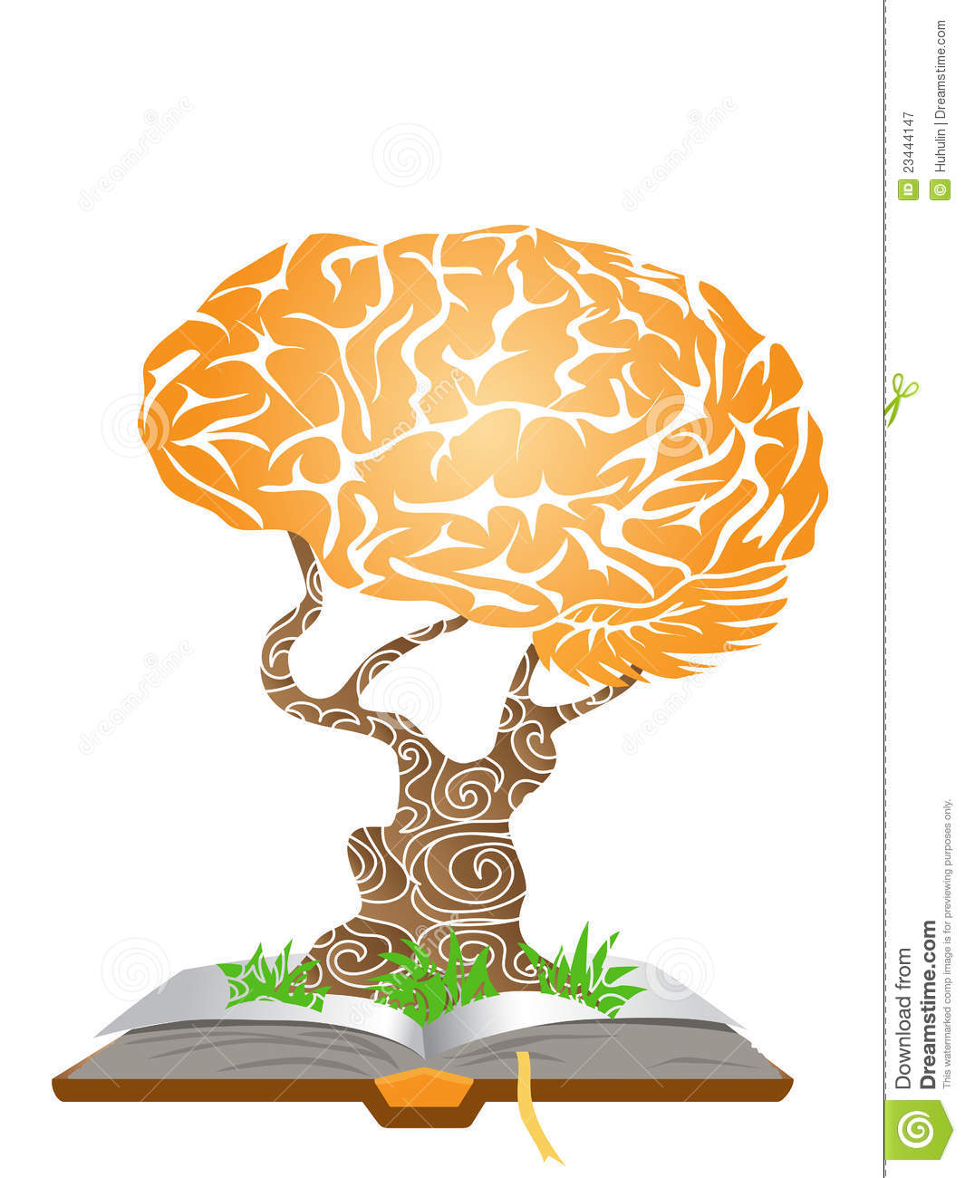Brain Tree On Book Roy... Wood Sign Clip Art