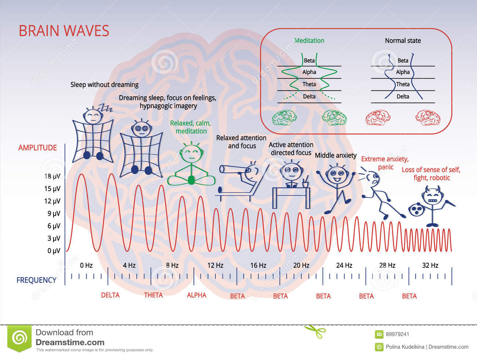 Brain waves stock illustration  Illustration of hemisphere - 89979241