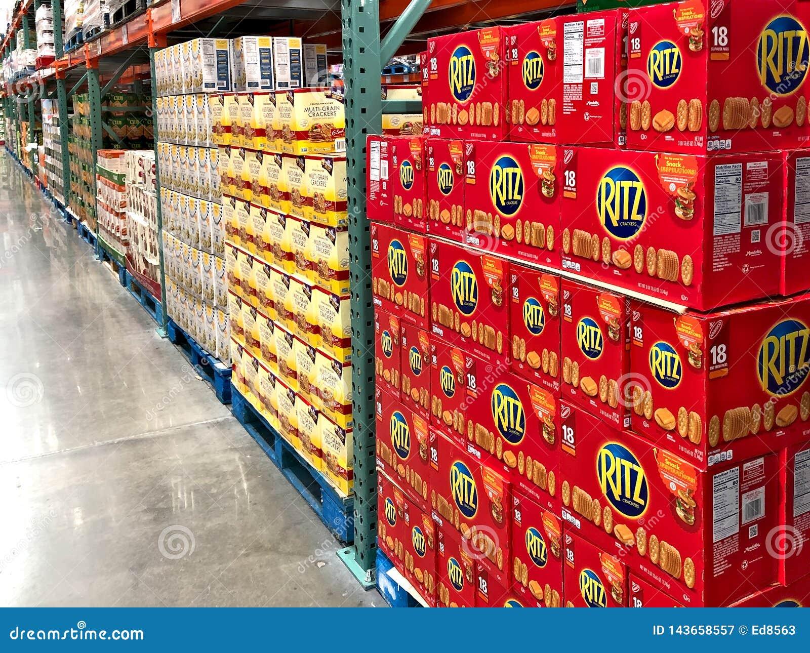 BRAINERD, MN - 31 MAR 2019: Pallet of Ritz cracker boxes on display in store
