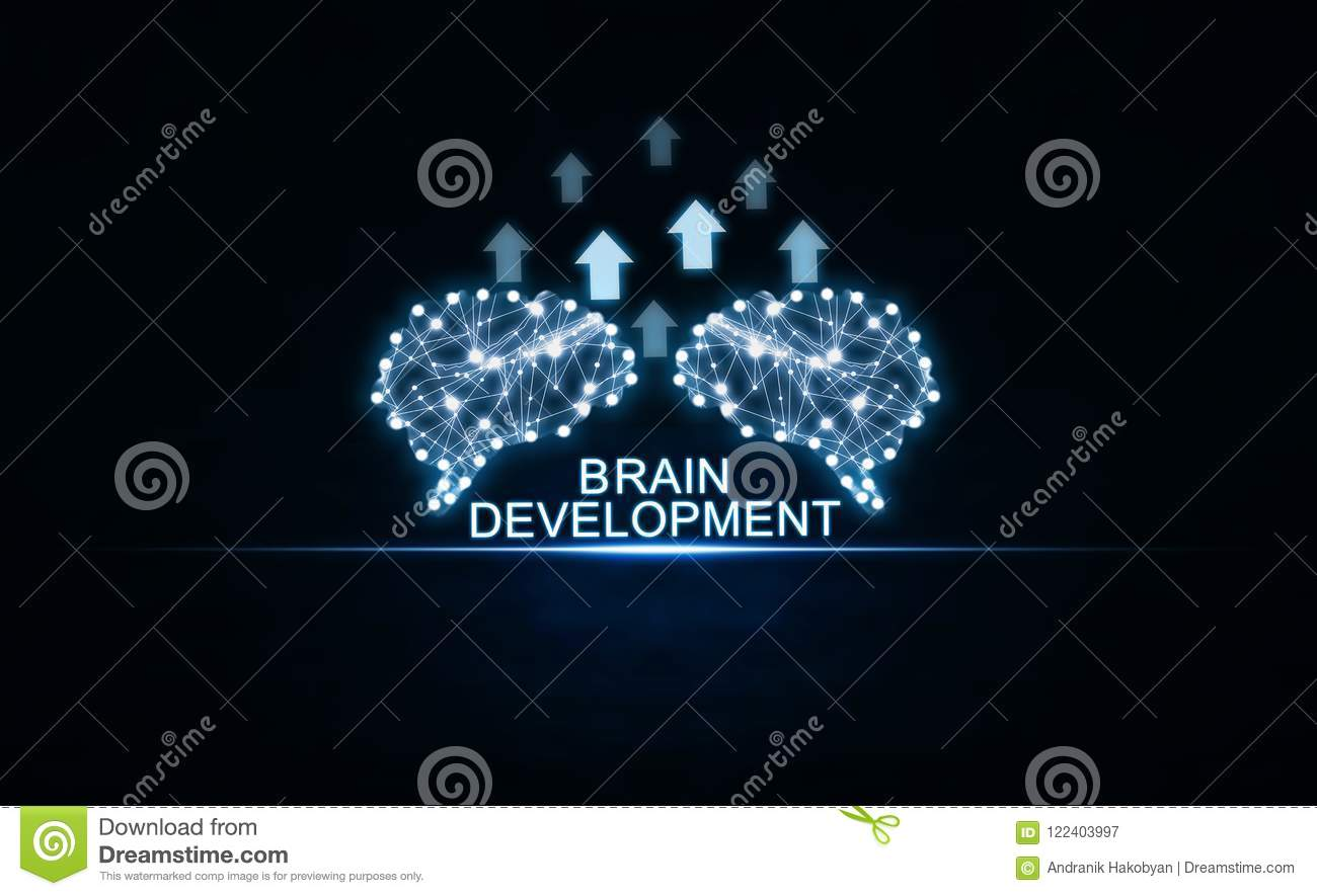 Brains with arrows. Artificial intelligence and development concept