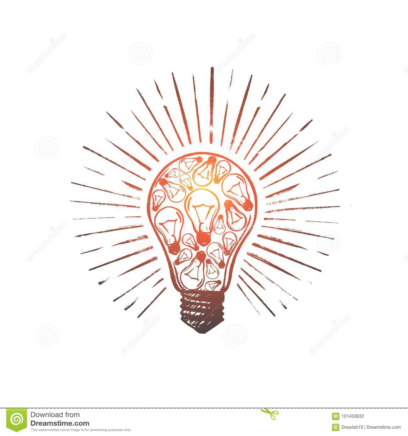 Set Of Hand Drawn Light Bulbs Symbol Of Ideas Stock: Brainstorm Concept. Hand Drawn Isolated Vector. Stock