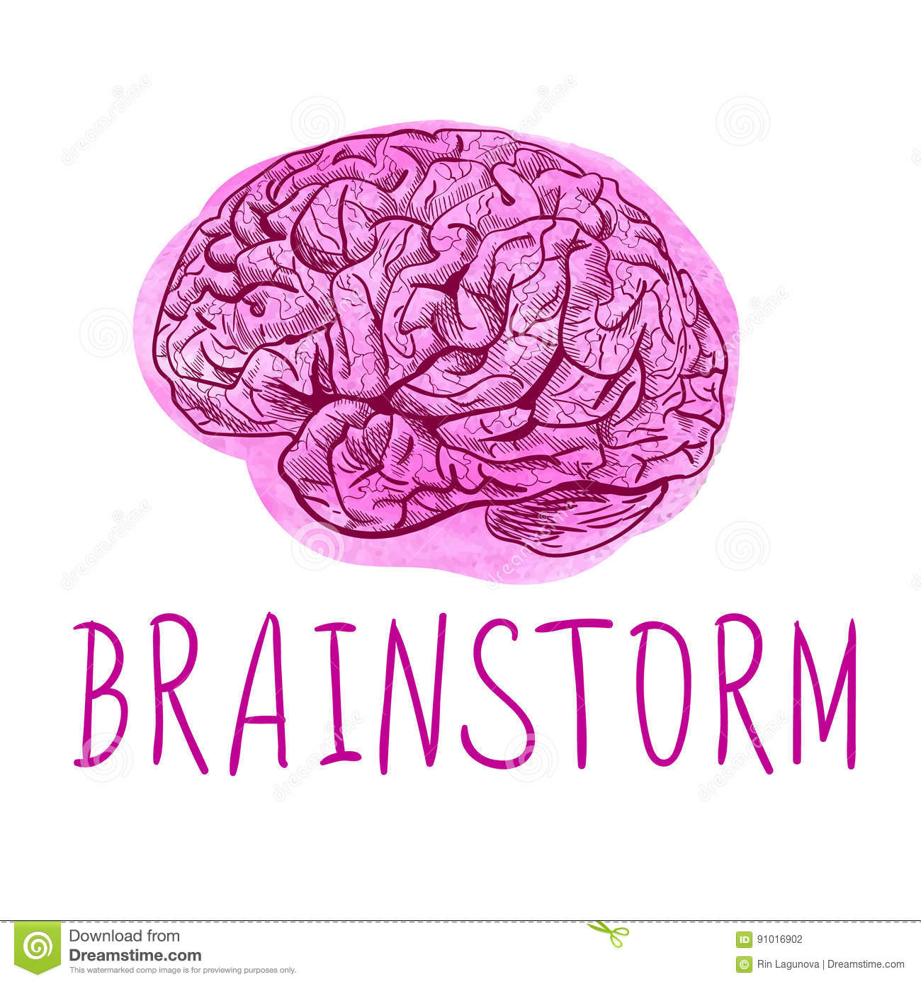 Brainstorm Letters And Drawing Of Human Brain On Paint Spot Stock