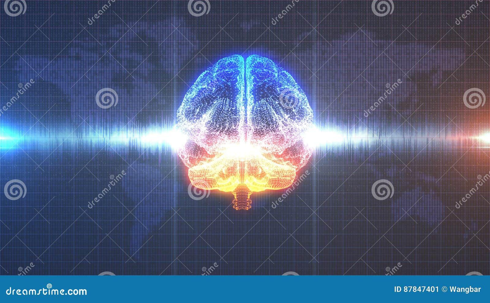 Brainstorm - orange and blue digital brain with brainwave animation