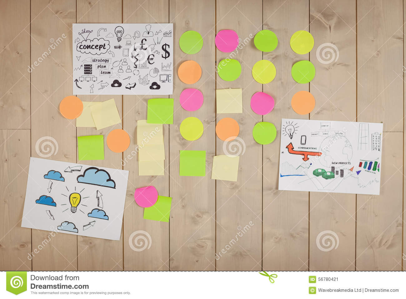 Brainstorm Wall In Creative Office Stock Photo Image 56780402