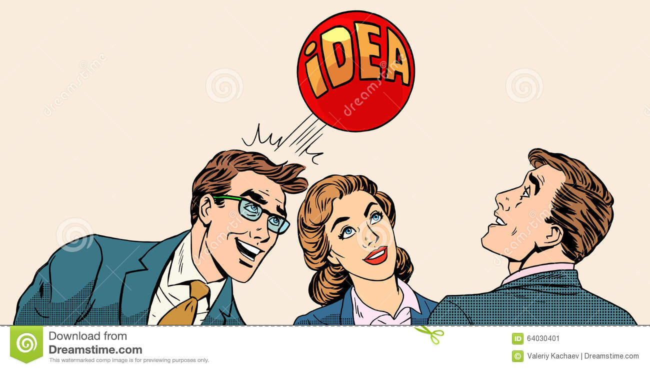 Brainstorming business team concept to develop the
