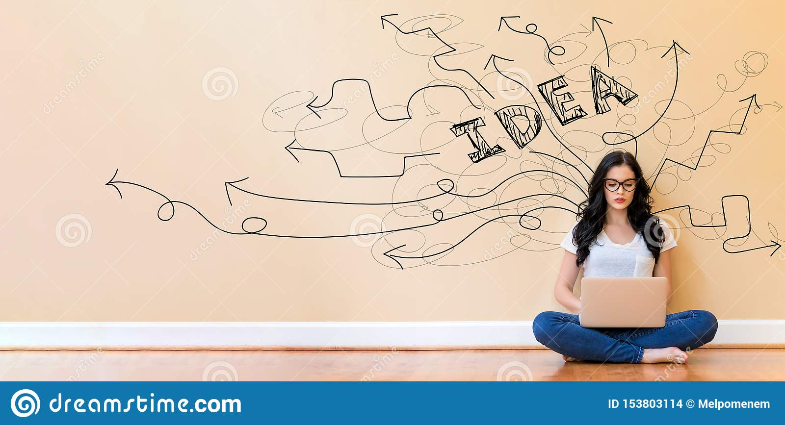 Brainstorming idea arrows with woman using a laptop