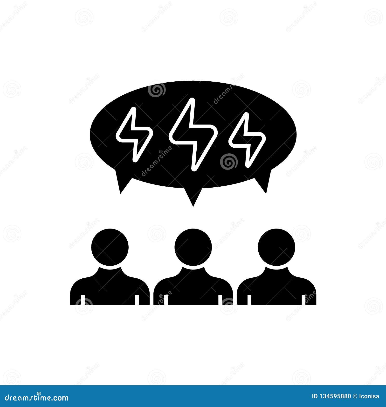 Brainstorming ludzi czarnej wektorowej pojęcie ikony Brainstorming ludzi płaskiej ilustracji, znak