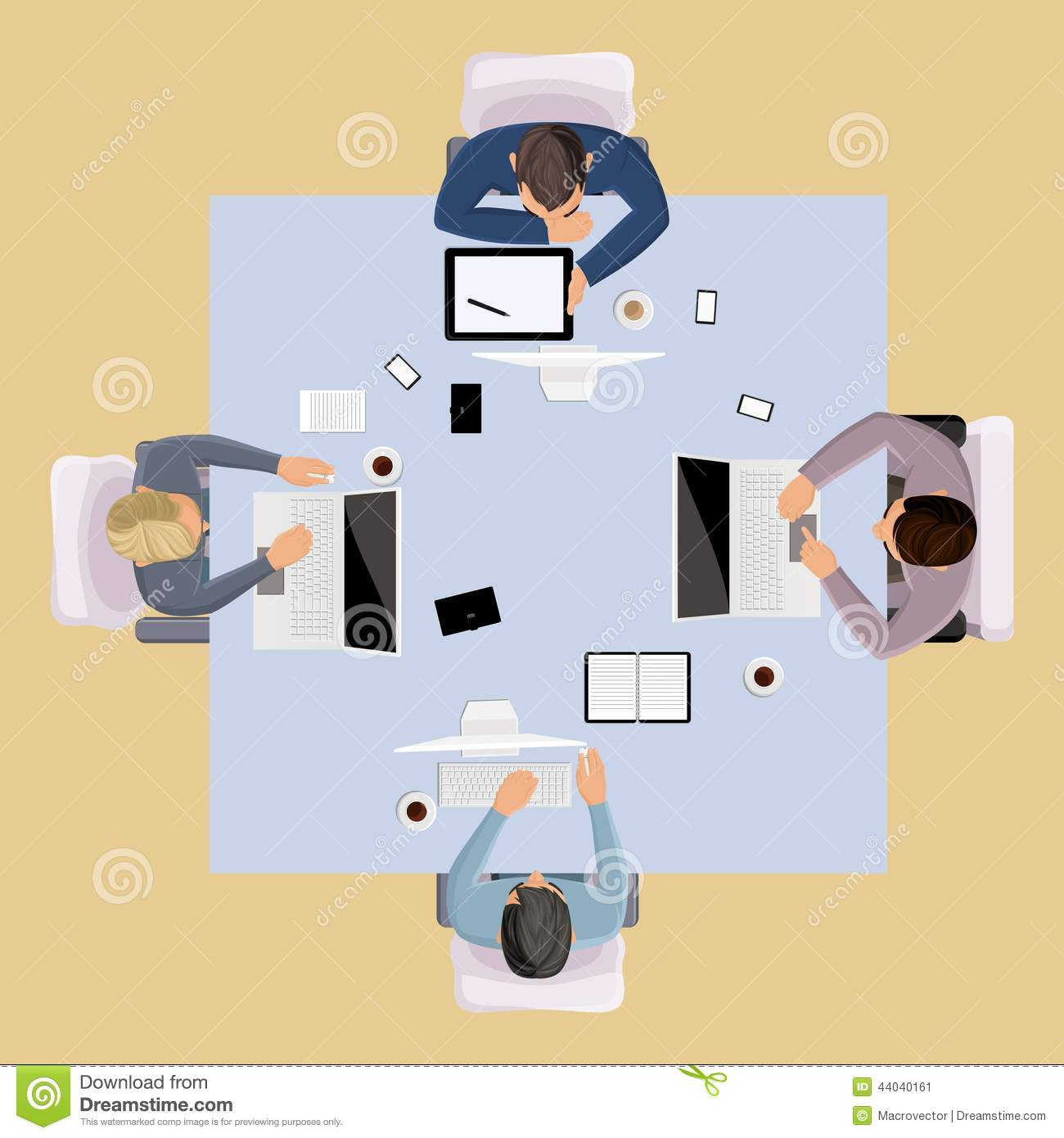 Business team meeting brainstorming concept top view group people on ...