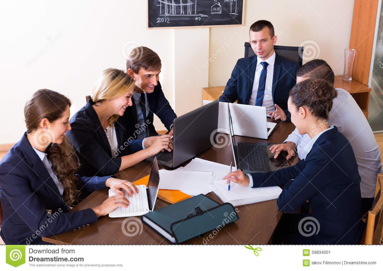 Brainstorming Of Positive Business Team Stock Image