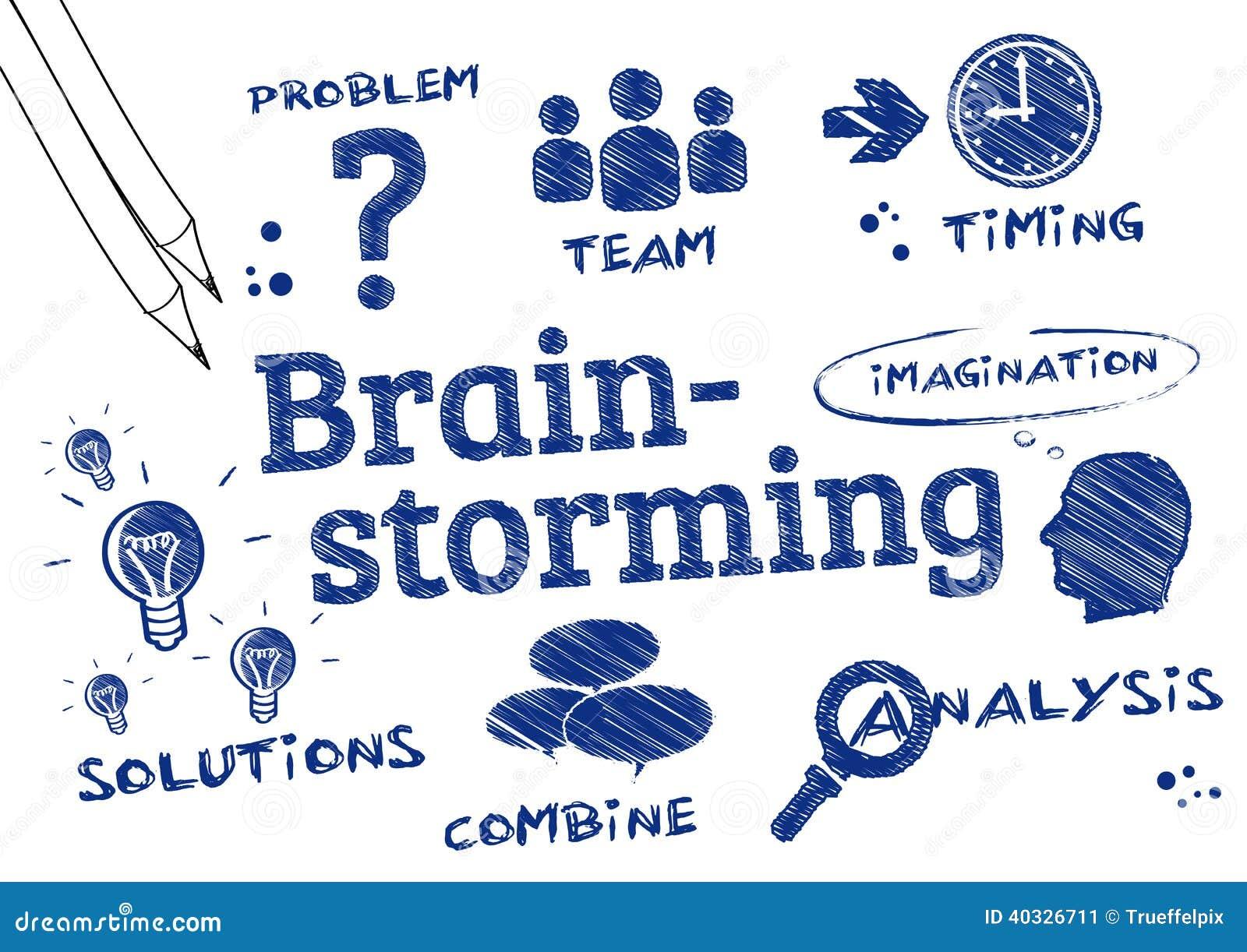 Brainstorming Problem Solving Scribble Stock