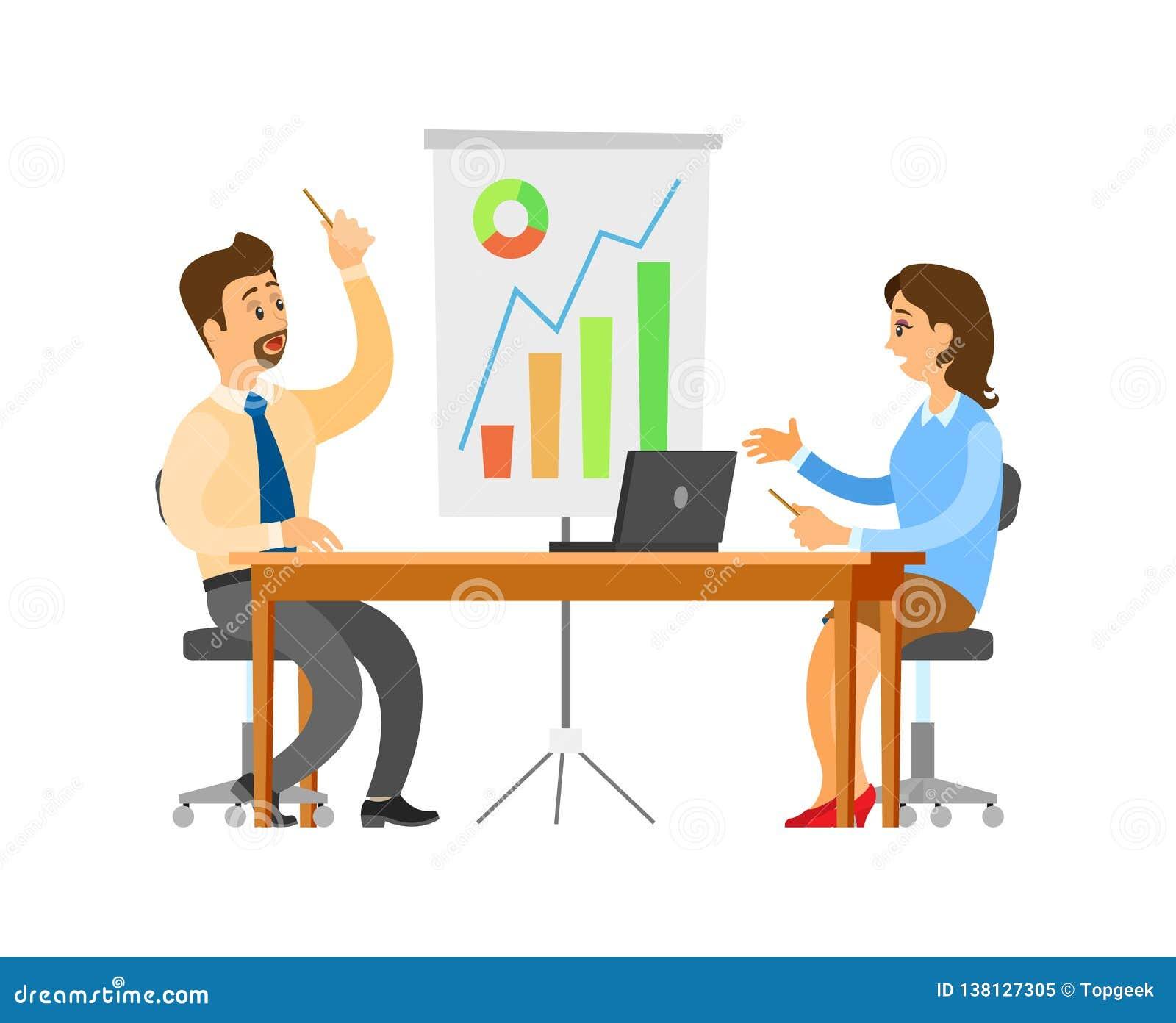 Brainstorming Seminar Of Team  Office Workers Stock Vector