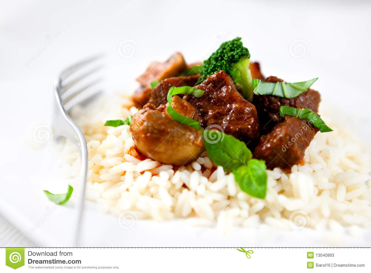 Braised beef with broccoli and rice