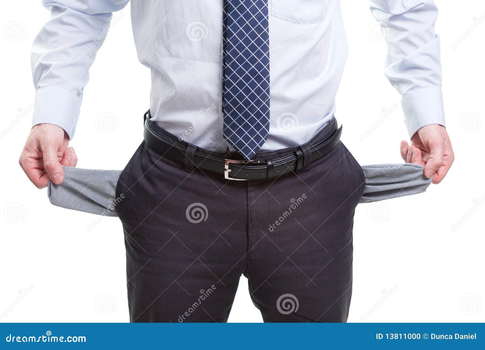 Brak en slechte bedrijfsmens met lege zakken