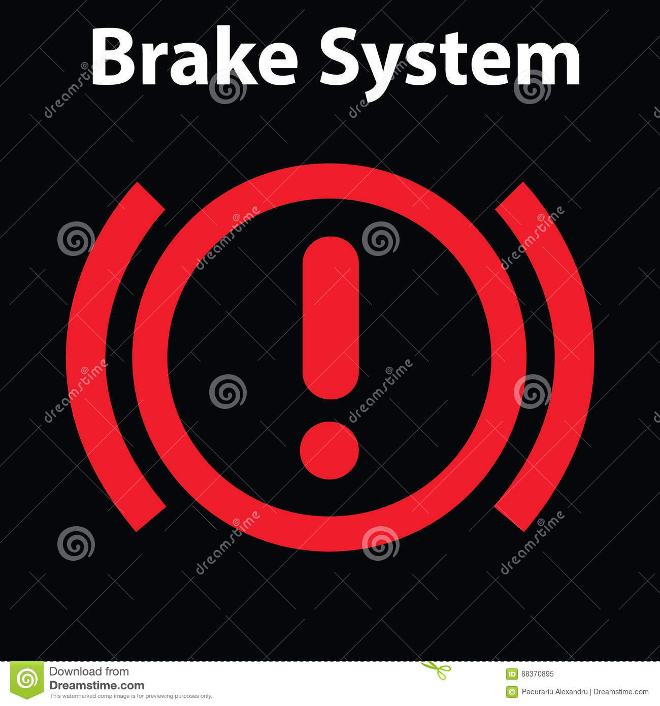 Brake Light Signal Icon On The Car Panel Dashboard Warning Signs - Car sign on dashboard