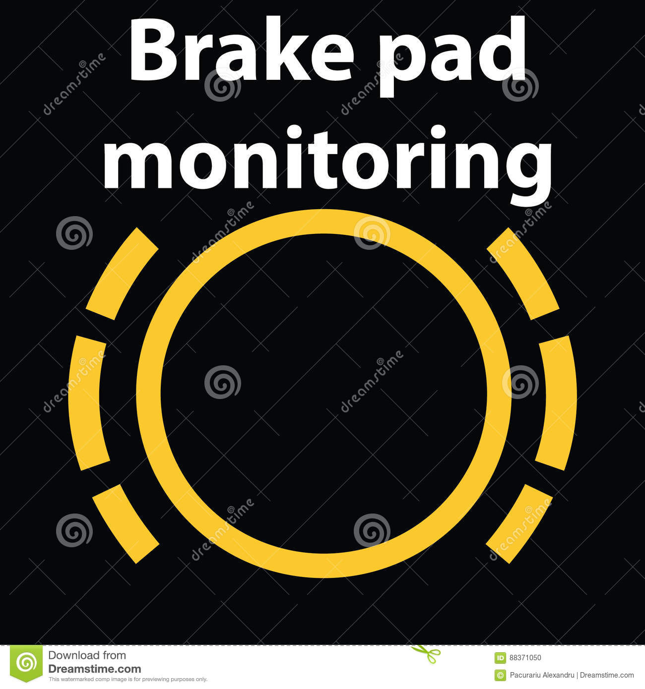 Brake Pad Monitoring Dashboard Warning Sign Icon Vector - Car sign on dashboard