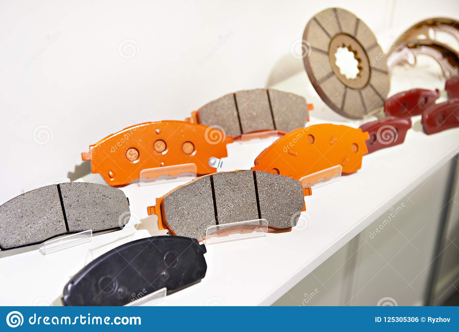 Brake Pads On Counter Parts Store For Car Stock Photo - Image of