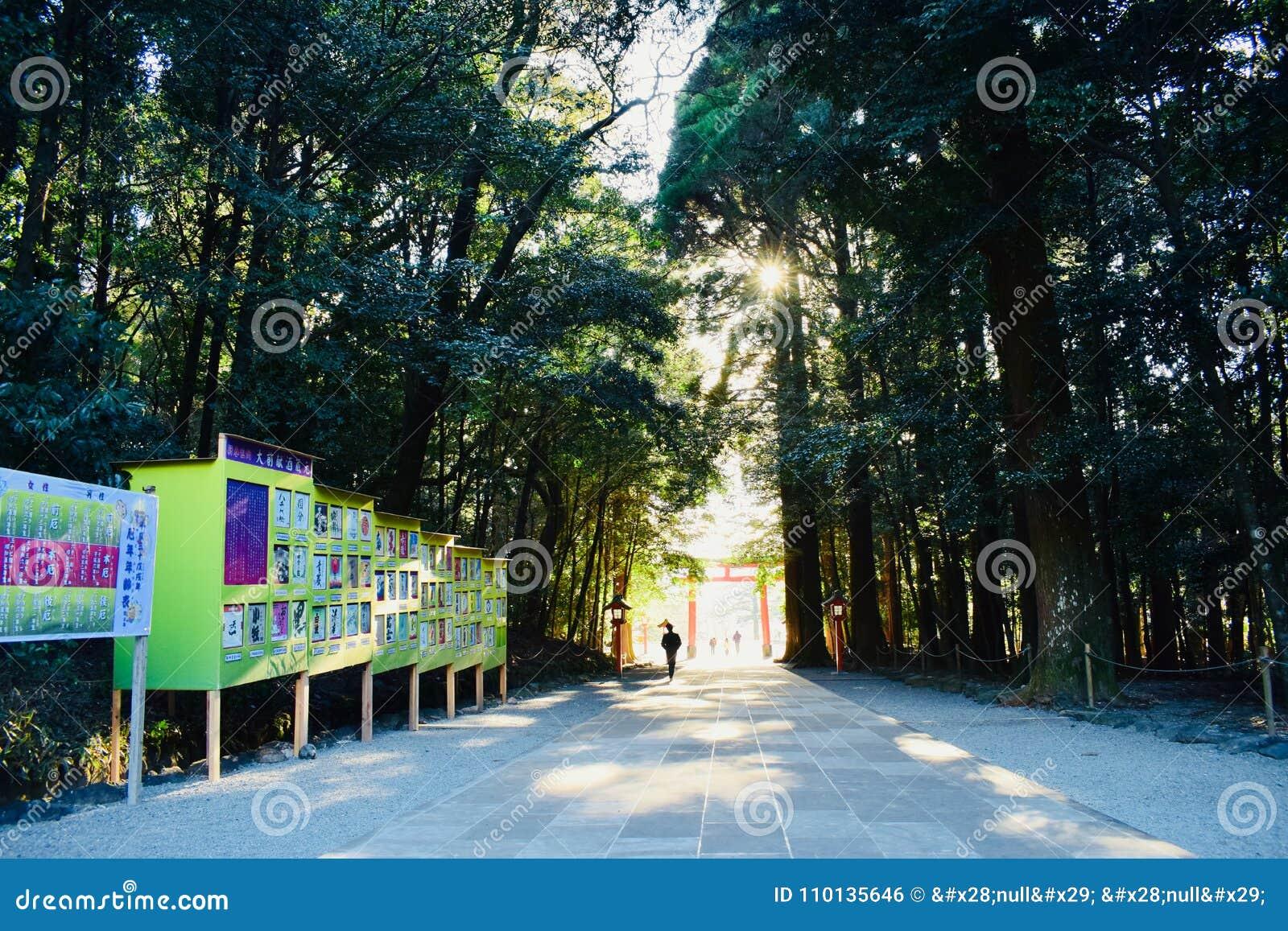 Brama świątynia w Kagoshima, Japonia, z mnóstwo zielonymi drzewami