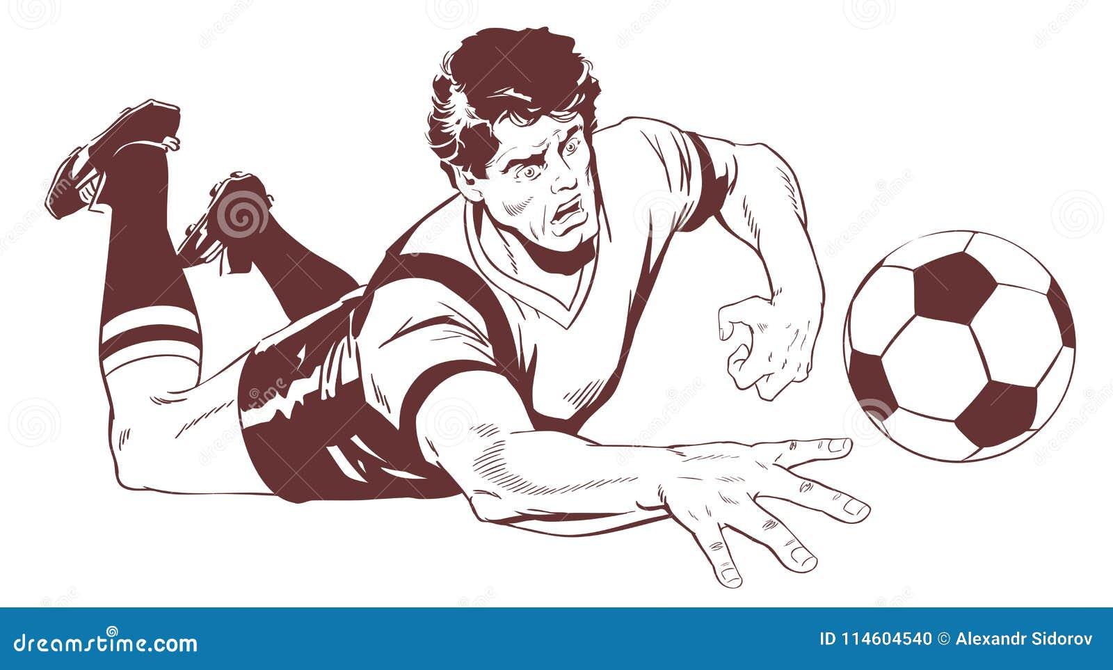 Bramkarz łapie piłki nożnej piłkę tła jaskrawy ilustracyjny pomarańcze zapas