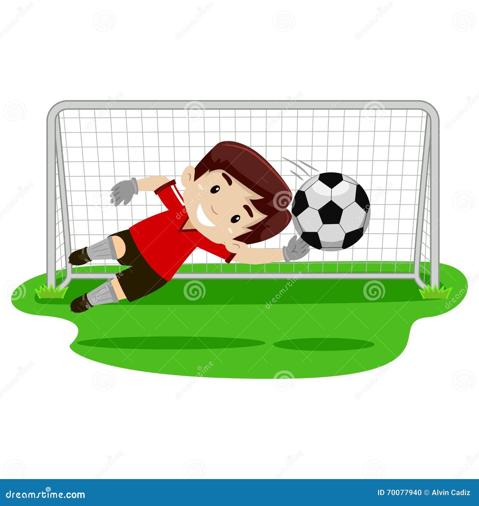 Bramkarz chłopiec próbuje łapiący piłkę na futbolowej bramie