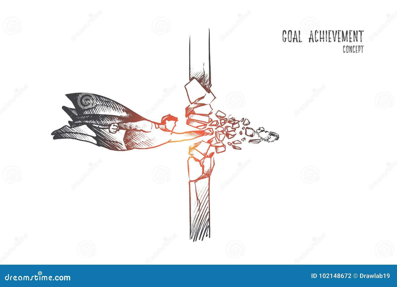 Bramkowy osiągnięcia pojęcie Ręka rysujący odosobniony wektor
