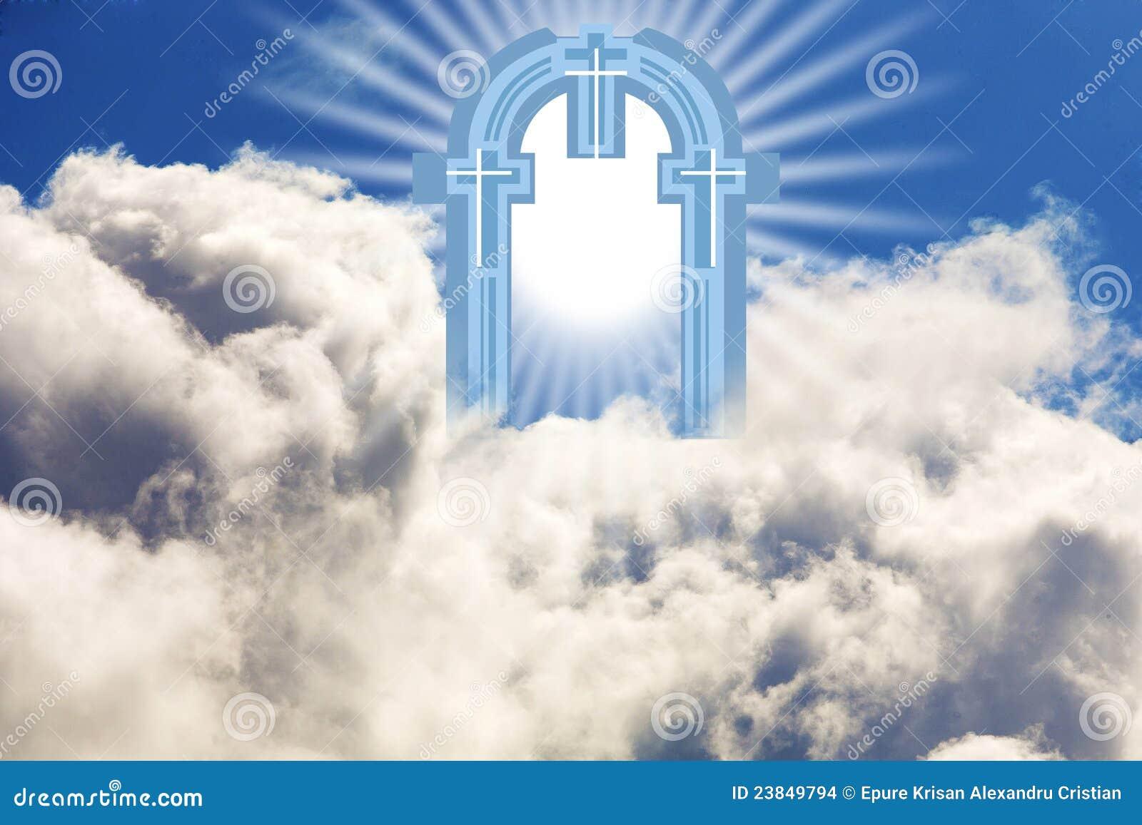 Bramy Niebo Ilustracji Obraz Złożonej Z Biblia Krzyż