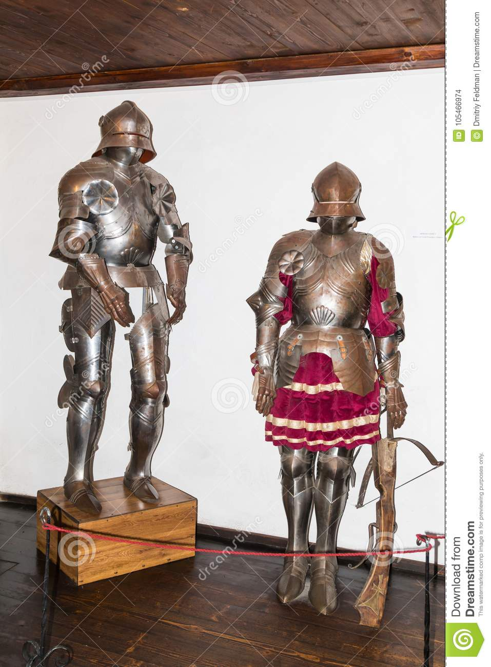 Armor of knights are in the armory room in the Bran Castle. Bran city in Romania