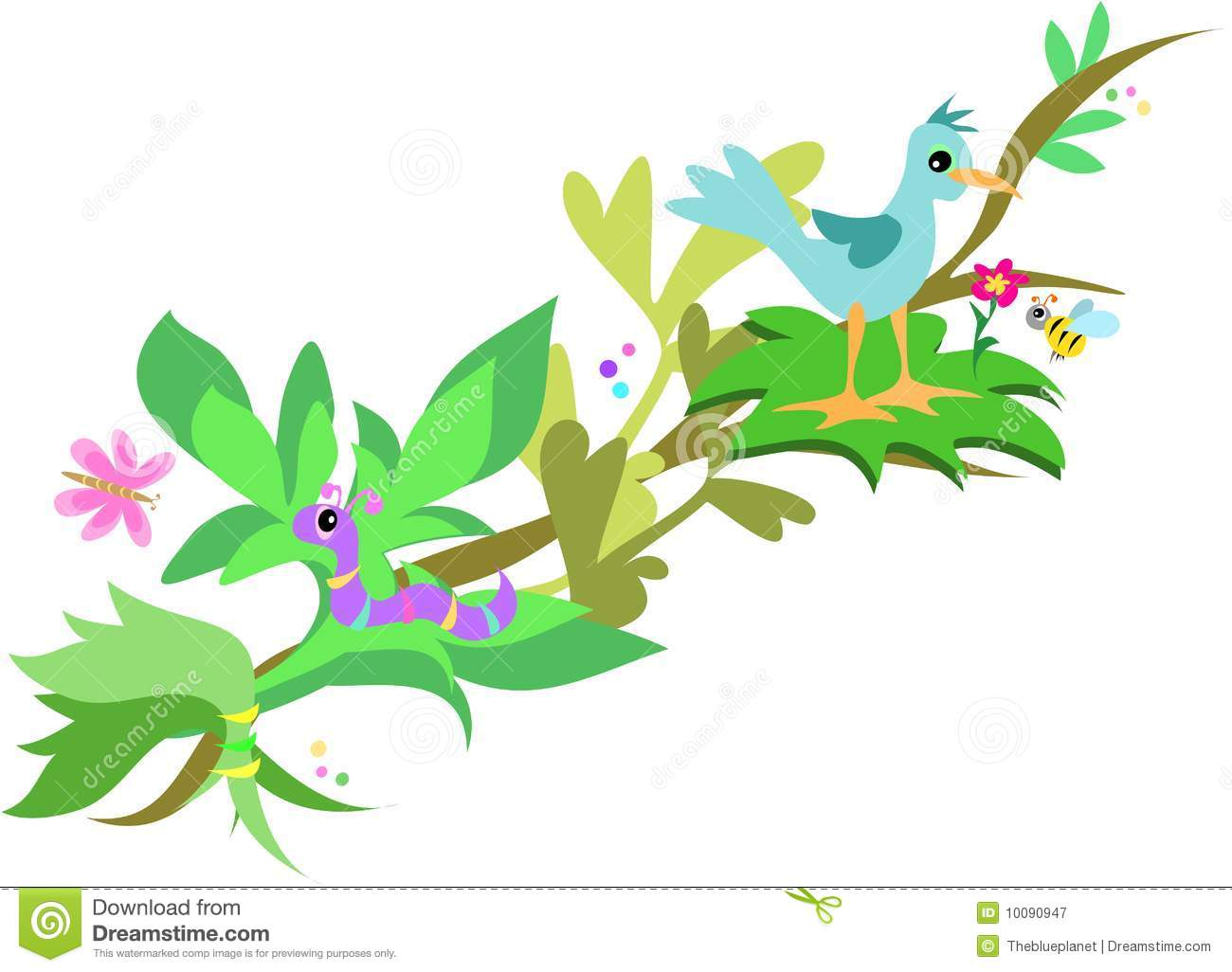 Branch with Bird, Worm and Bee