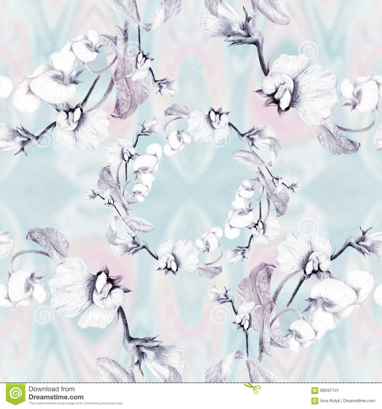 branch of blossoming peas abstract wallpaper with floral motifs
