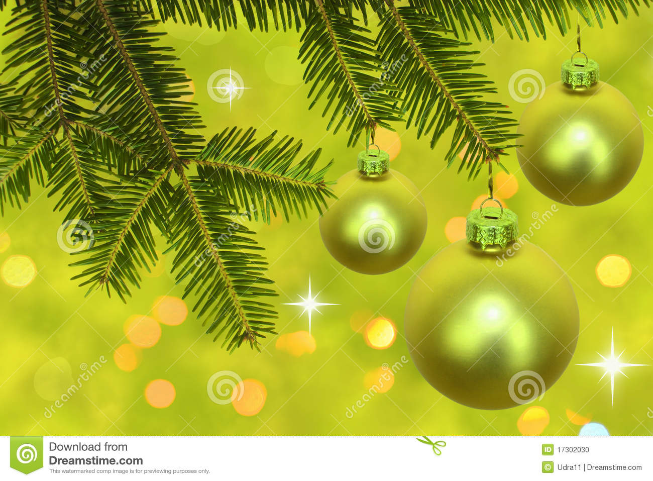 Branch Of Christmas Tree With Baubles Stock Photo Image