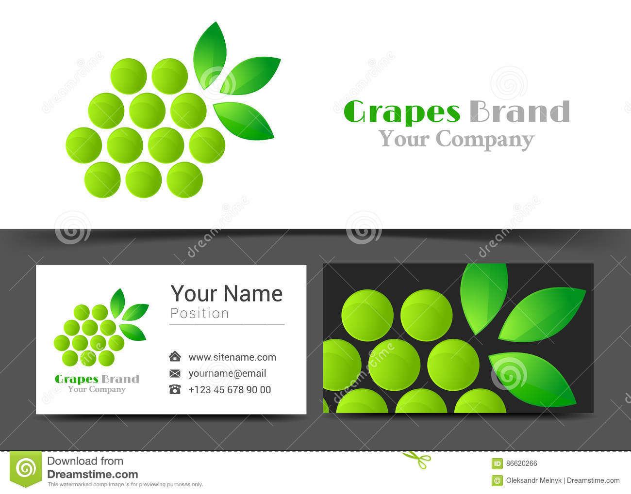 Branch Of Grape With Leaves Corporate Logo And Business Card