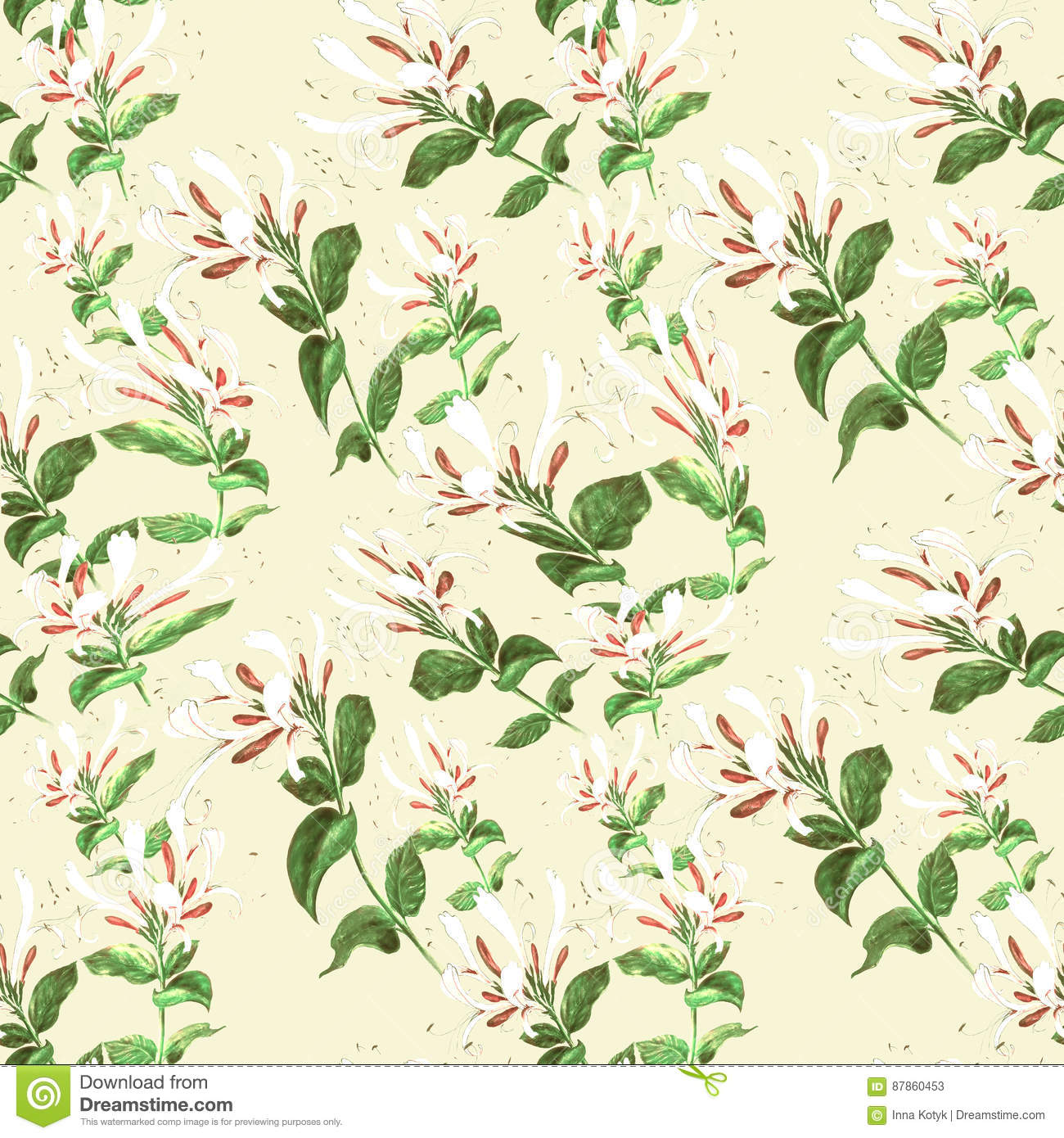 Branch Honeysuckle Seamless Pattern Collage Of Flowers And Leaves