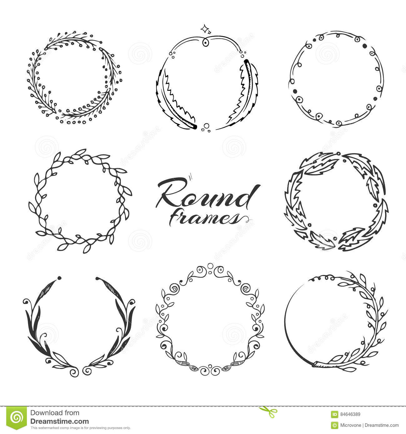 Round frame with decorative branch vector illustration stock - Branch With Leaves Laurel Wreath Floral Circle Frames For Decoration Stock Vector