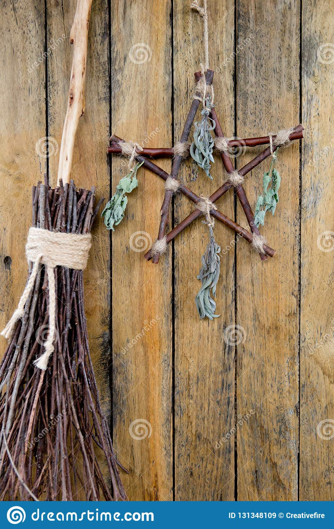 Branch Pentagram And Besom Witches Broom With Dried Herbs