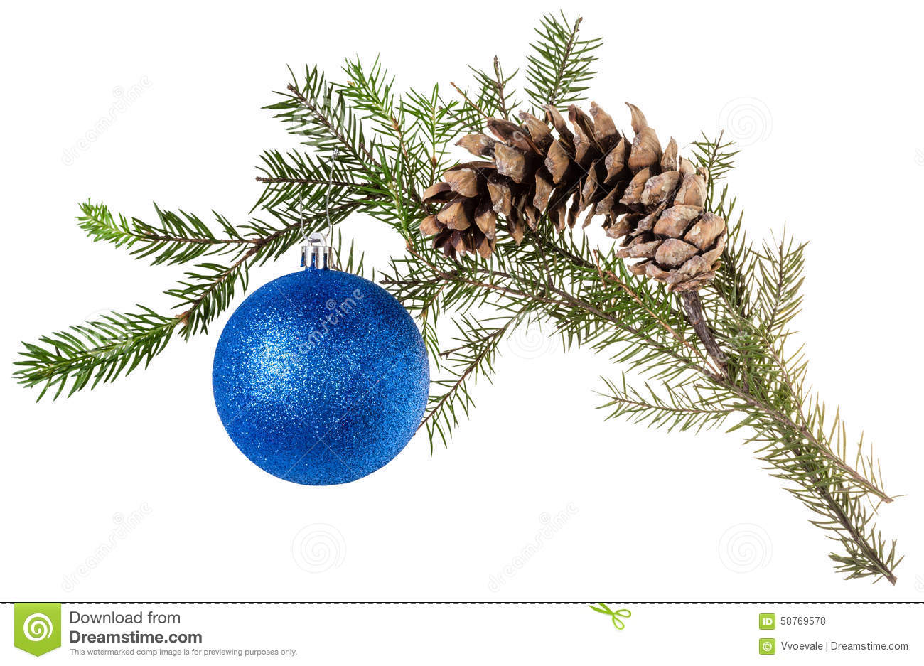 Branch of spruce with cone and blue ball on white
