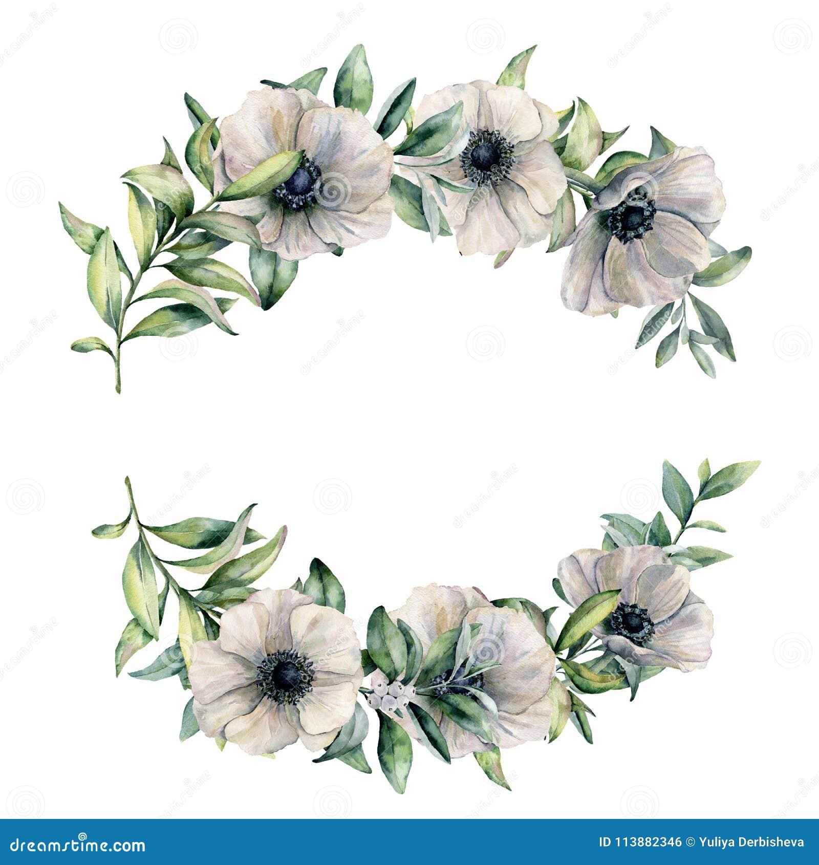 branche d 39 aquarelle avec les feuilles blanches d 39 an mone et d 39 eucalyptus fleurs peintes la. Black Bedroom Furniture Sets. Home Design Ideas