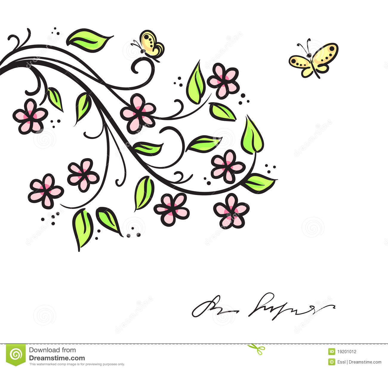 branche d 39 arbre avec les fleurs abstraites photographie stock image 19201012. Black Bedroom Furniture Sets. Home Design Ideas