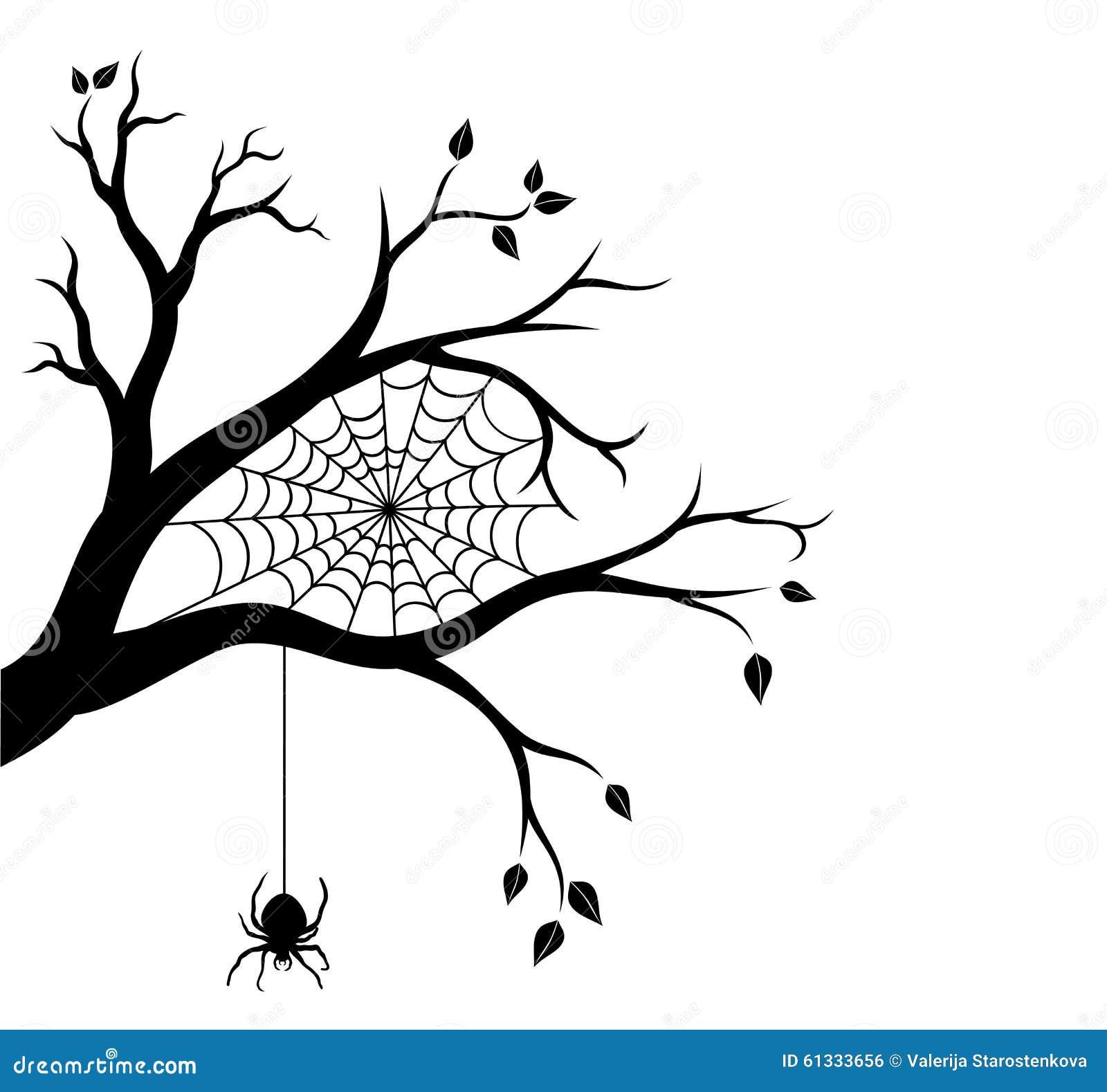 branche d 39 arbre de halloween et toile d 39 araign e illustration de vecteur illustration du. Black Bedroom Furniture Sets. Home Design Ideas