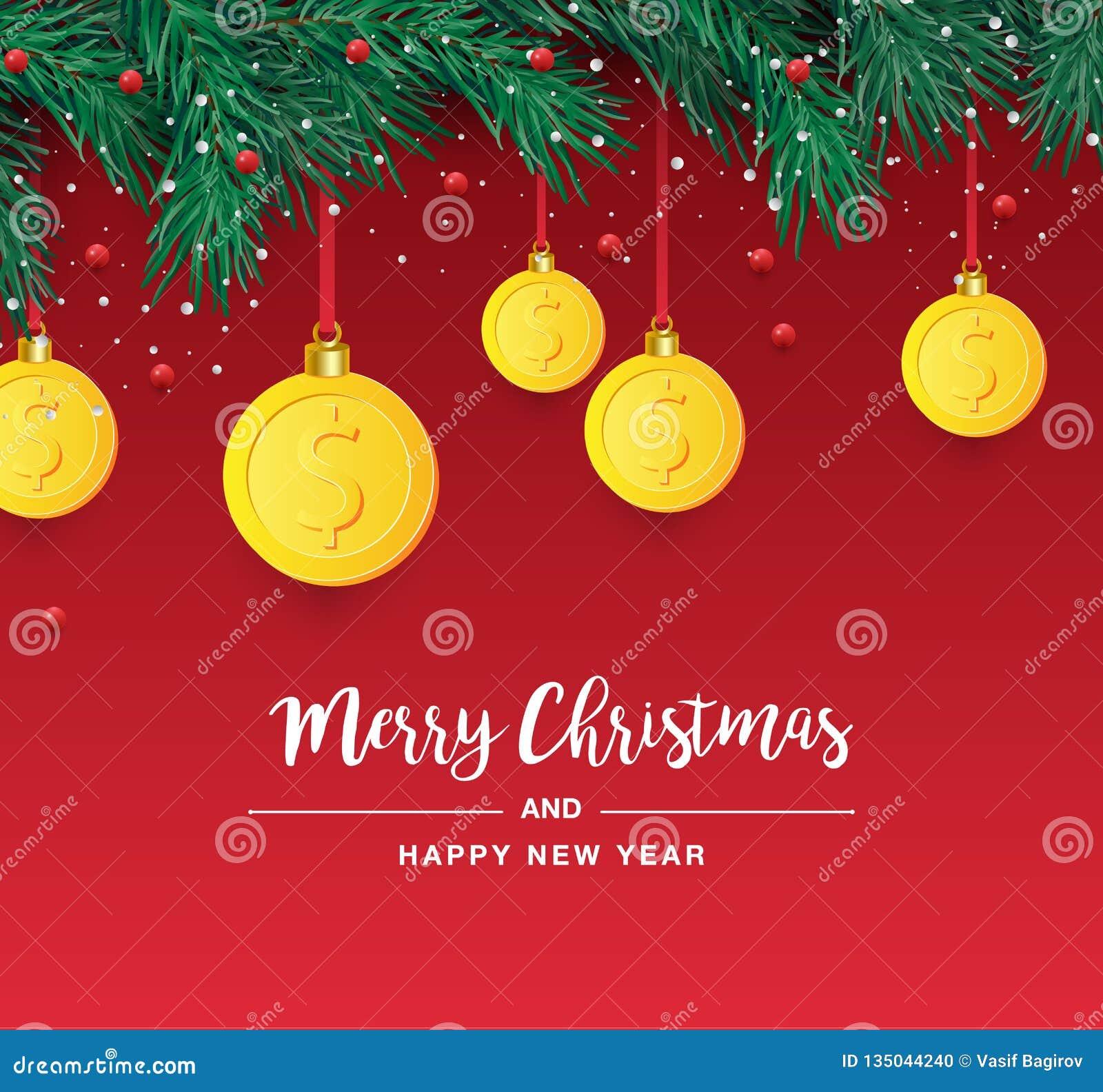 Branche d arbre de Noël avec le symbole décoratif du dollar d or Symbole dollar comme babiole de Noël accrochant sur la brindille