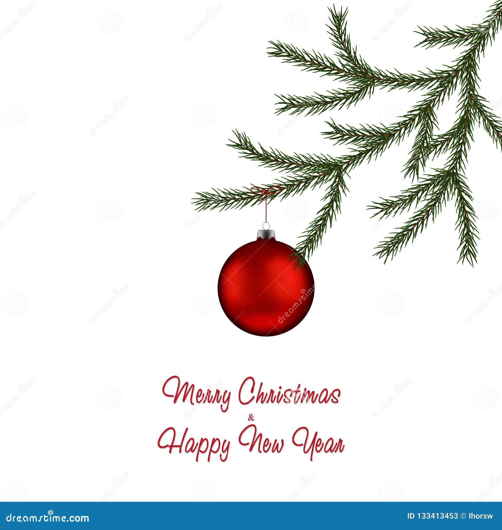 Branche d arbre de sapin de Noël et babiole rouge Boule de Noël avec la décoration Illustration de vacances de vecteur