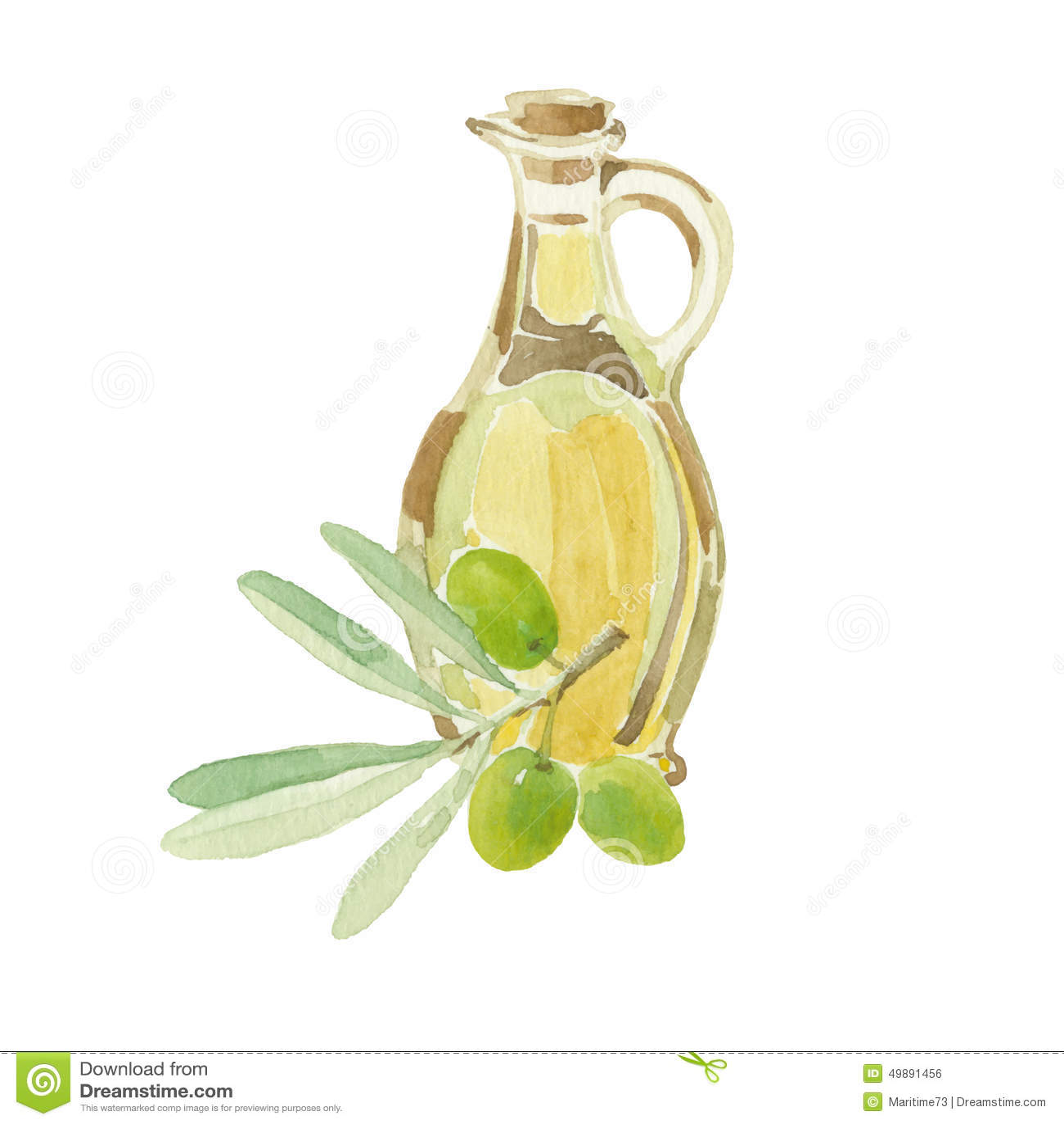 branche d 39 olivier et une bouteille du dessin d 39 huile d. Black Bedroom Furniture Sets. Home Design Ideas